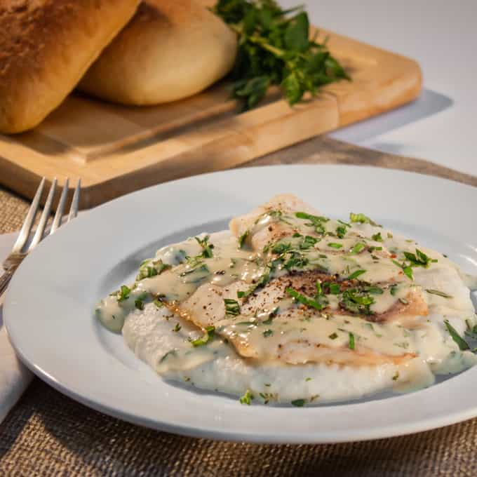 Baked Tilapia with Sunchoke Puree and Herb Mustard Sauce