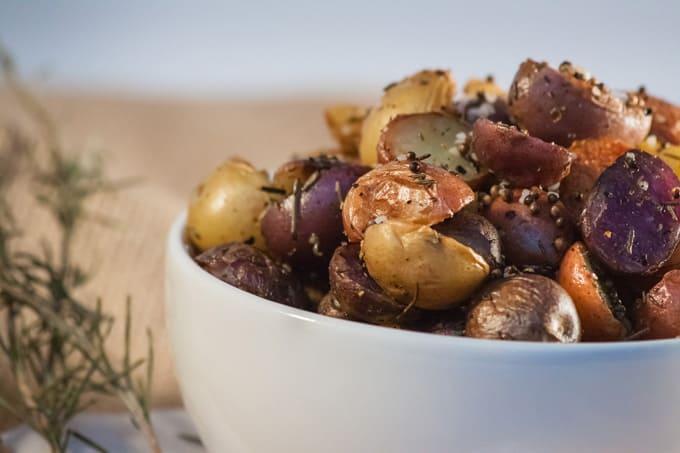 Herb Mustard Baby Potatoes Close Up