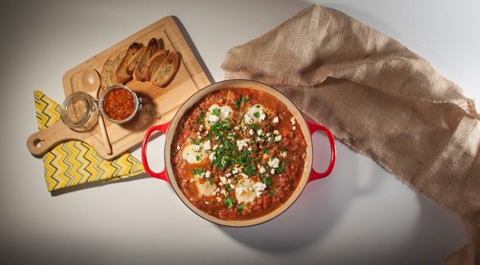 shakshuka - eggs in spicy tomato sauce overhead