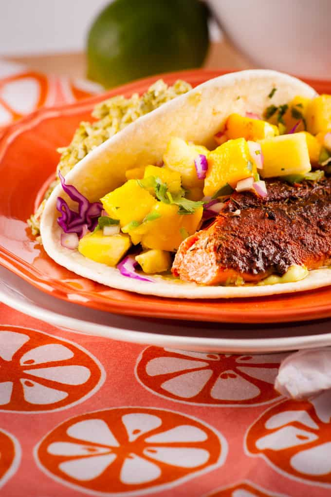 Blackened Salmon Tacos wtih Pinapple Salsa