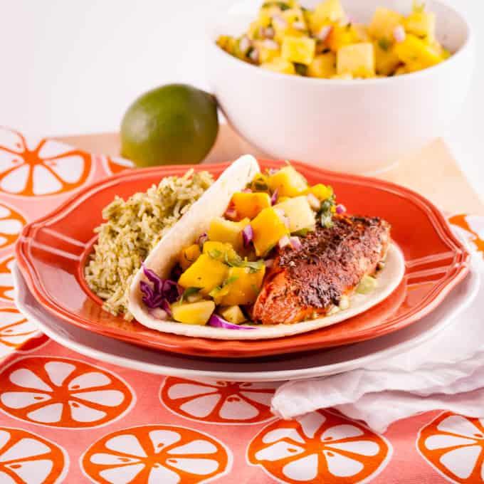 Blackened Salmon Tacos with Pinapple Mango Salsa