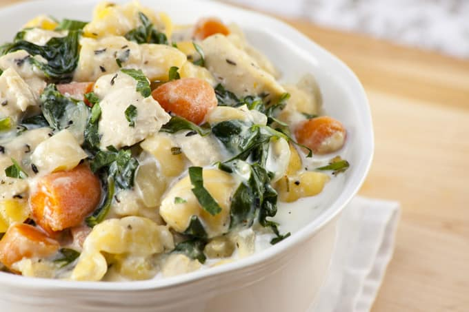 Gluten-Free Chicken Gnocchi Soup Close-Up