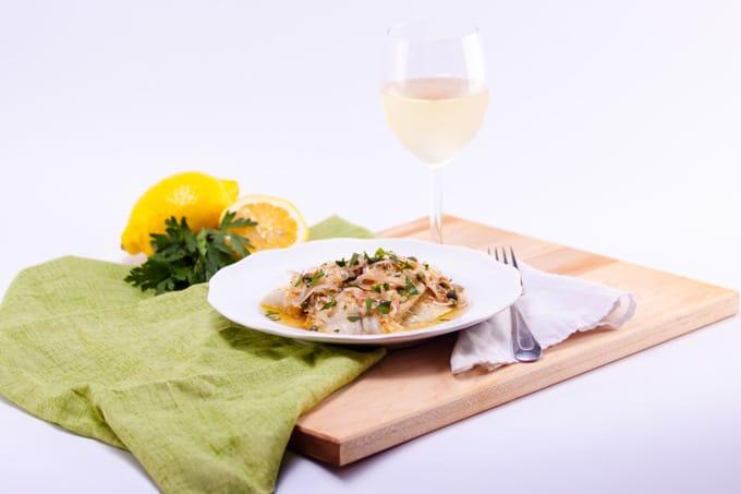 Tilapia in white wine caper sauce landscape