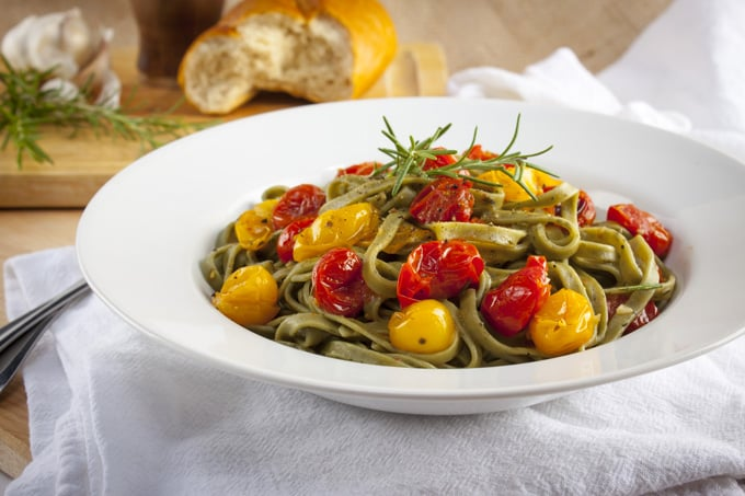 Roasted tomato and rosemary pasta