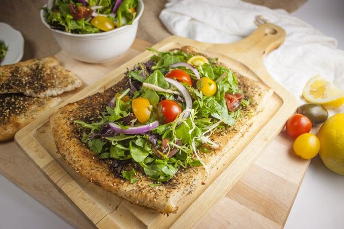Za'atar Flatbread with salad