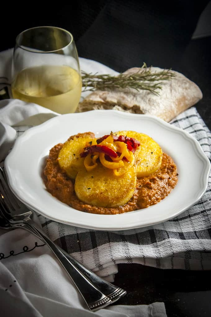 Polenta with Red Pepper Pepperoni Sauce