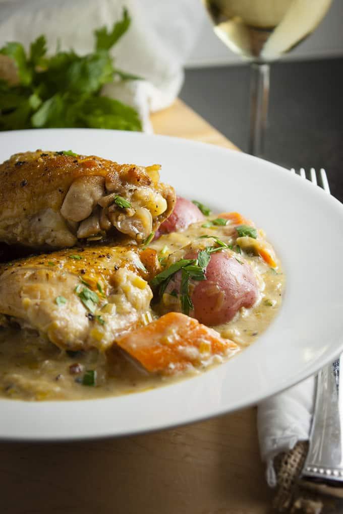 Creamy Reisling Coq au Vin is a light, gluten-free, one-pot meal
