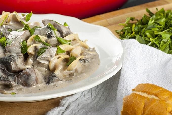 Light and Healthy Mushroom Stroganoff