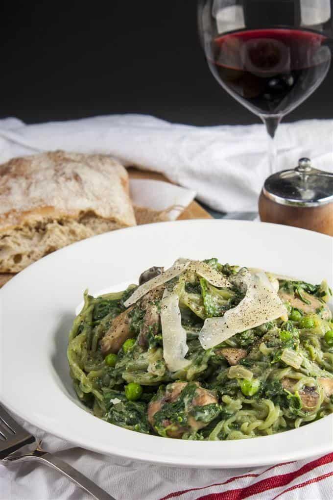 Vegan, gluten-free pasta primavera