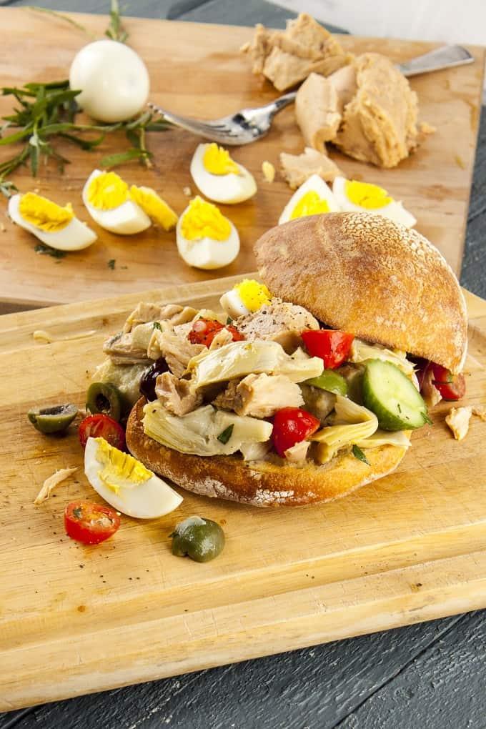 Rustic Pan Bagnat Nicoise Sandwich