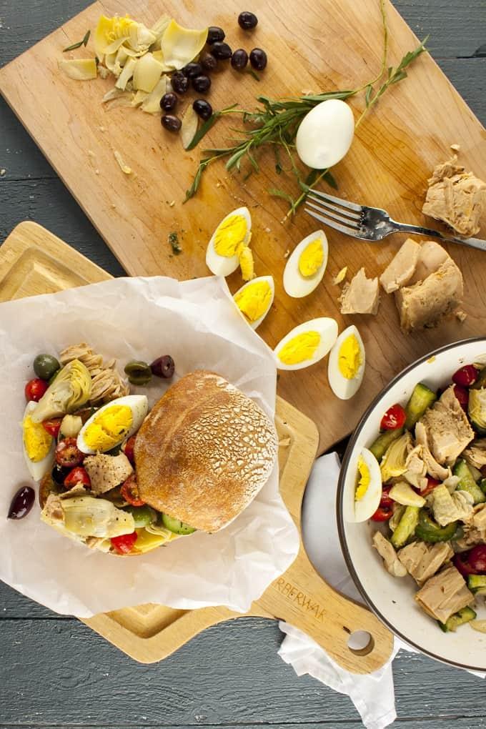 Rustic but Elegant Nicoise Salad and Sandwich