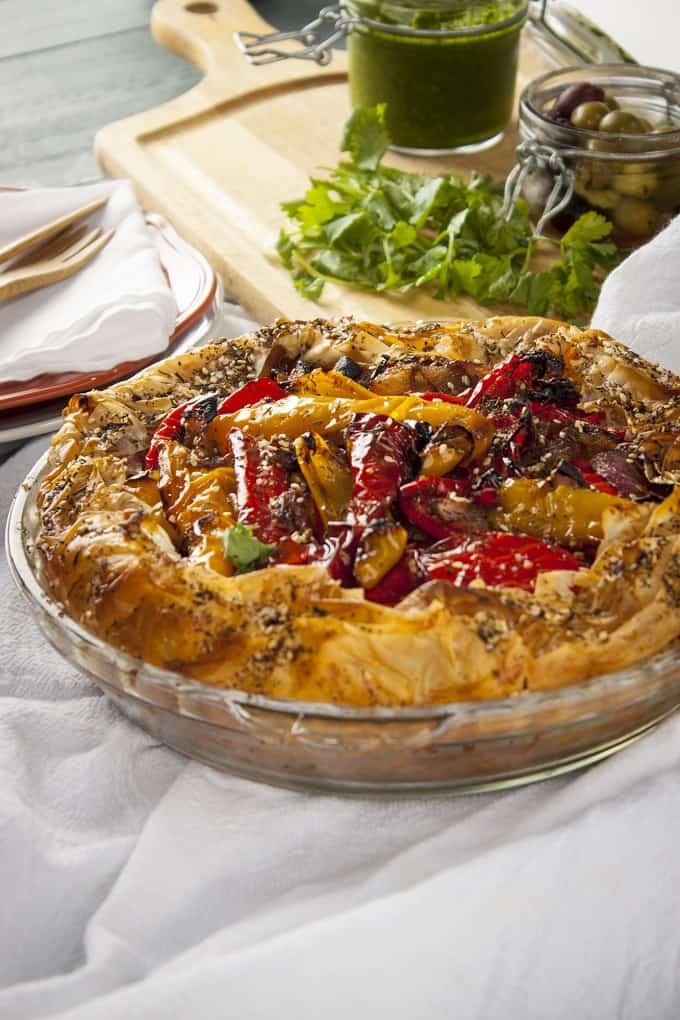 Roasted pepper and feta filo pie