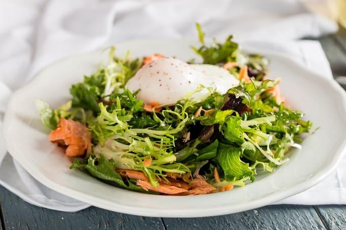 Salad Lyonnaise with Smoke Salmon Candy