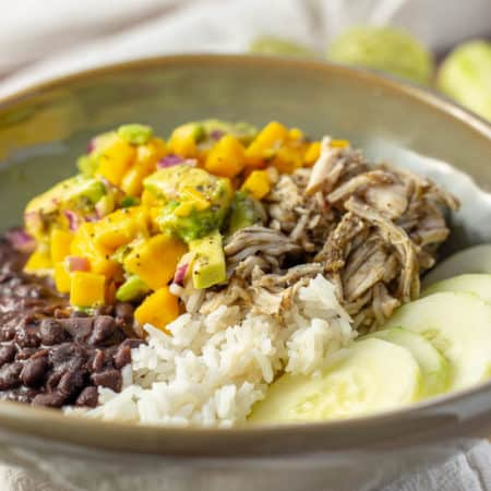 Weeknight Shredded Jerk Chicken Bowl with Mango Avocado Salsa - Crockpot, instapot of stovetop
