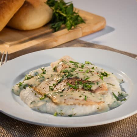 Baked Tilapia with Sunchoke Puree and Mustard Herb Sauce
