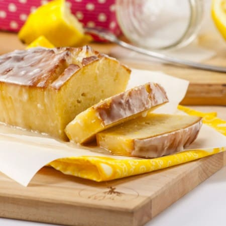 Glazed Lemon Bread Loaf Sliced