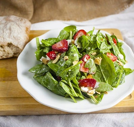 Strawberry Spinach Salad with Goat Cheese and Poppy Seed Dressing