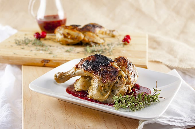 Cornish game hen in triple cranberry sauce