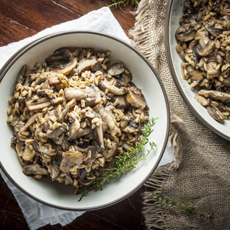 Farro with mushrooms and thyme