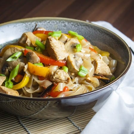 Light and healthy kung pao chicken with shirataki noodles