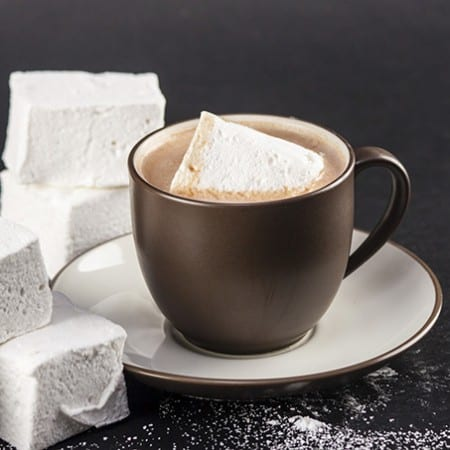 Giant homemade marshmallows in cocoa