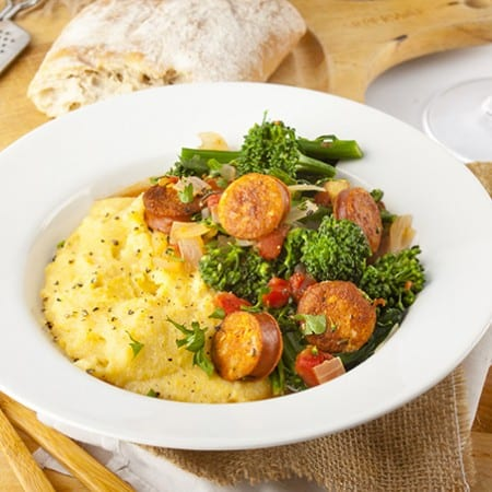 Rapini and Chicken Sausage over Polenta