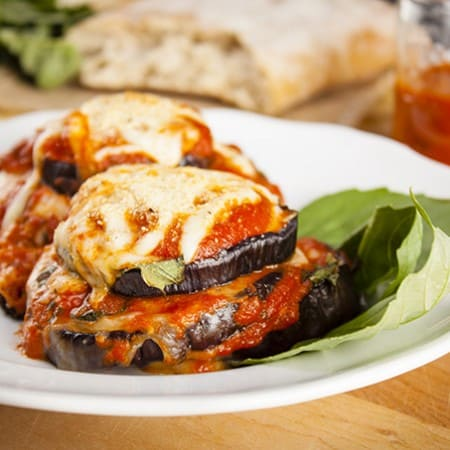 Cheesy baked eggplant Parmesan stacks