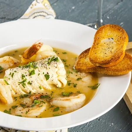 Seafood stew with delicately flavored broth that you will crave