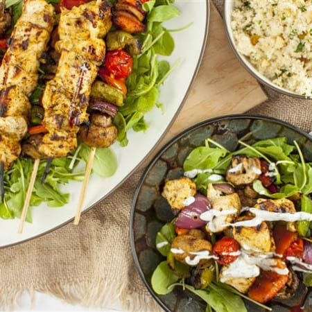 Moroccan grilled chicken and vegetables with yogurt dill sauce