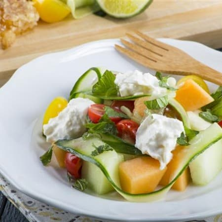Heirloom Tomato, Melon, and Burrata Salad