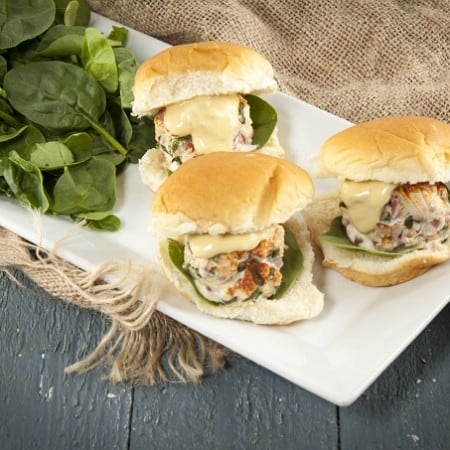 Mini salmon-crab burgers with zesty Creole mustard sauce