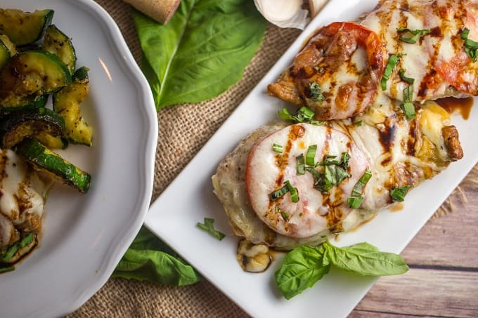 Caprese chicken with balsamic glaze